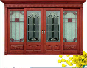 চীন Red  Carve patterns solid Wooden Automatic telescoping sliding doors সরবরাহকারী